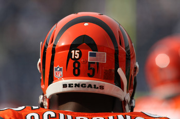 SAN DIEGO - DECEMBER 20:  Chad Ochocinco #85 of the Cincinnati Bengals  wears the number 15 on his helmet honoring deceased teammate Chris Henry during warmups for the game with the San Diego Chargers on December 20, 2009 at Qualcomm Stadium in San Diego,