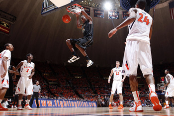 CHAMPAIGN, IL - FEBRUARY 13: JaJuan Johnson #25 of the Purdue Boilermakers gets free for a dunk against the Illinois Fighting Illini at Assembly Hall on February 13, 2011 in Champaign, Illinois. Purdue defeated Illinois 81-70. (Photo by Joe Robbins/Getty