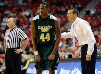LAS VEGAS, NV - JANUARY 19:  Head coach Tim Miles of the Colorado State Rams talks to Greg Smith #44 during their 78-63 victory over the UNLV Rebels at the Thomas & Mack Center January 19, 2011 in Las Vegas, Nevada.  (Photo by Ethan Miller/Getty Images)