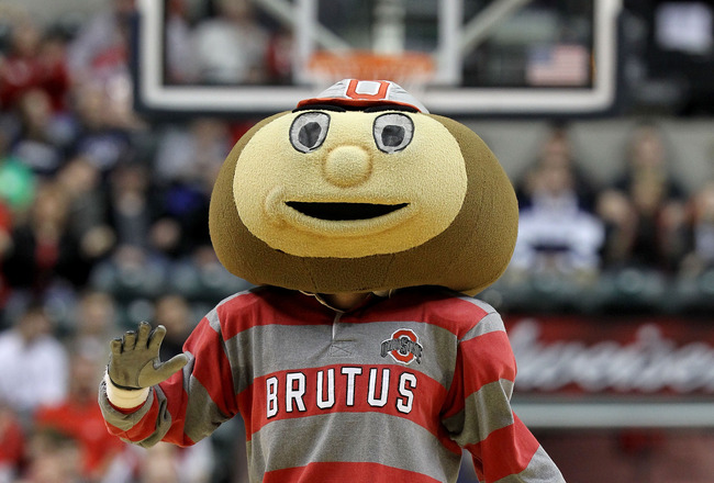 INDIANAPOLIS, IN - MARCH 13:  Brutus, the mascot of the Ohio State Buckeyes performs against the Penn State Nittany Lions during the championship game of the 2011 Big Ten Men's Basketball Tournament at Conseco Fieldhouse on March 13, 2011 in Indianapolis,