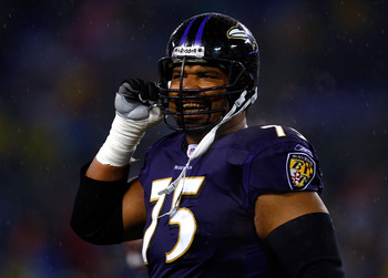 BALTIMORE - DECEMBER 30:  Jonathan Ogden #75 of the Baltimore Ravens unbuckles his helmet during the game against the Pittsburgh Steelers at M&amp;T Bank Stadium December 30, 2007 in Baltimore, Maryland.  (Photo by Jamie Squire/Getty Images)