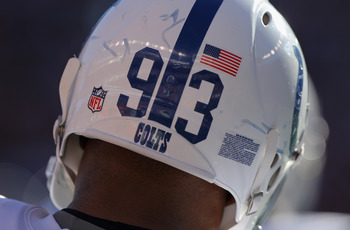 DENVER - SEPTEMBER 26:  A detail photo of the helmet of defensive linemen Dwight Freeney #93 of the Indianapolis Colts as he prepare to play defense against the Denver Broncos at INVESCO Field at Mile High on September 26, 2010 in Denver, Colorado. The Co
