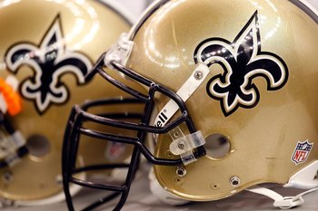 NEW ORLEANS - NOVEMBER 08:  Helmets of the New Orleans Saints at Louisiana Superdome on November 8, 2009 in New Orleans, Louisiana.  (Photo by Ronald Martinez/Getty Images)