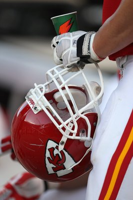 CHICAGO - SEPTEMBER 16:  A detail of a helmet held by Kyle Turley #74 of the Kansas City Chiefs against  the Chicago Bears at Soldier Field on September 16, 2007 in Chicago, Illinois. The Bears won 20-10. (Photo by Jonathan Daniel/Getty Images)