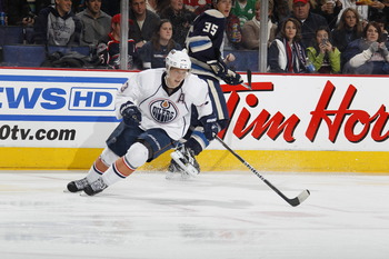 COLUMBUS, OH - FEBRUARY 05: Ales Hemsky #83 of the Edmonton Oilers skates against the Columbus Blue Jackets at Nationwide Arena on February 5, 2011 in Columbus, Ohio.  (Photo by Gregory Shamus/Getty Images)