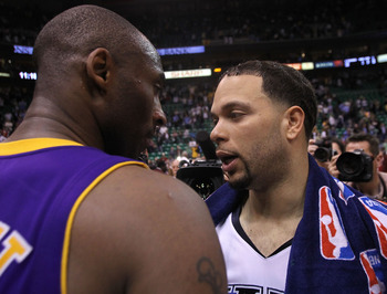 SALT LAKE CITY - MAY 10: Kobe Bryant #24 of the Los Angeles Lakers talks with Deron Williams #8 of the Utah Jazz after Game Four of the Western Conference Semifinals of the 2010 NBA Playoffs on May 10, 2010 at Energy Solutions Arena in Salt Lake City, Uta