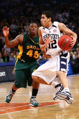 NEW YORK - APRIL 02:  Talor Battle #12 of the Penn State Nittany Lions drives past Tweety Carter #45 of the Baylor Bears during the NIT Championship match at Madison Square Garden on April 2, 2009 in New York, New York.  (Photo by Chris McGrath/Getty Imag