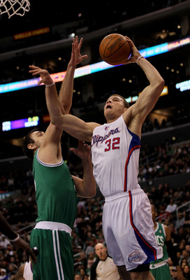 LOS ANGELES, CA - FEBRUARY 26:  Blake Griffin #32 of the Los Angeles Clippers goes for a dunk over Nenad Krstic #4 of the Boston Celtics at Staples Center on February 26, 2011  in Los Angeles, California. The Celtics won 99-92.  NOTE TO USER: User express