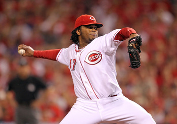 CINCINNATI - OCTOBER 10:  Johnny Cueto #47 of the Cincinnati Reds throws a pitch against the Philadelphia Phillies  during Game 3 of the NLDS at Great American Ball Park on October 10, 2010 in Cincinnati, Ohio.  (Photo by Andy Lyons/Getty Images)