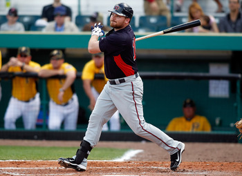 BRADENTON, FL - MARCH 02:  Designated hitter Jason Kubel #16 of the Minnesota Twins fouls off a pitch against the Pittsburgh Pirates during a Grapefruit League Spring Training Game at McKechnie Field on March 2, 2011 in Bradenton, Florida.  (Photo by J. M