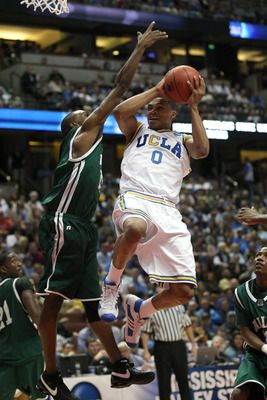 \ANAHEIM, CA - MARCH 20:  Russell Westbrook #0 of the UCLA Bruins drives to bask over the defense of Chris Watson #15 of the Mississippi Valley State Delta Devils during the West Region first round of the NCAA Basketball Tournament at the Honda Center on