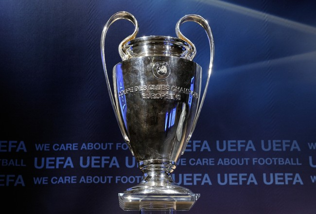 NYON, SWITZERLAND - AUGUST 06:  The UEFA Champions League trophy is displayed prior to the UEFA Champions League play-off draw on August 6, 2010 in Nyon, Switzerland. The play-offs are played over two legs on 17/18 and 24/25 August. The ten play-off winne