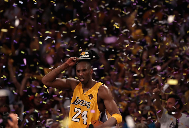 LOS ANGELES, CA - JUNE 17:  Kobe Bryant #24 of the Los Angeles Lakers celebrates after the Lakers defeated the Boston Celtics in Game Seven of the 2010 NBA Finals at Staples Center on June 17, 2010 in Los Angeles, California. The Lakers defeated the Celti
