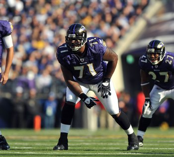 BALTIMORE - NOVEMBER 22:  Jared Gaither #71 of the Baltimore Ravens defends against the Indianapolis Colts at M&T Bank Stadium on November 22, 2009 in Baltimore, Maryland. The Colts defeated the Ravens 17-15. (Photo by Larry French/Getty Images)