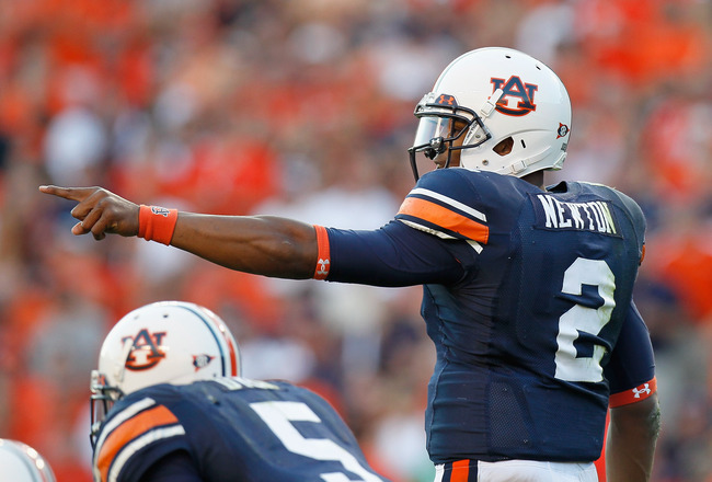 AUBURN, AL - OCTOBER 23:  Quarterback Cameron Newton #2 of the Auburn Tigers against the LSU Tigers at Jordan-Hare Stadium on October 23, 2010 in Auburn, Alabama.  (Photo by Kevin C. Cox/Getty Images)