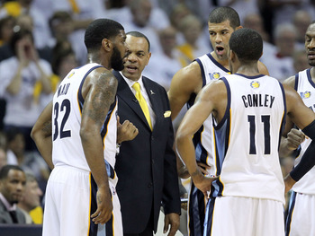 MEMPHIS, TN - MAY 07:  Lionel  Hollins the Head Coach of the  Memphis Grizzlies gives instructions to his team during the game against the Oklahoma City Thunder in Game Three of the Western Conference Semifinals in the 2011 NBA Playoffs at FedExForum on M