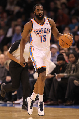 OKLAHOMA CITY, OK - JANUARY 30:  James Harden #13 of the Oklahoma City Thunder at Ford Center on January 30, 2011 in Oklahoma City, Oklahoma.  NOTE TO USER: User expressly acknowledges and agrees that, by downloading and or using this photograph, User is