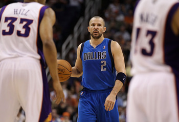 PHOENIX, AZ - FEBRUARY 17:  Jason Kidd #2 of the Dallas Mavericks handles the ball during the NBA game against the Phoenix Suns at US Airways Center on February 17, 2011 in Phoenix, Arizona.  The Mavericks defeated the Suns 112-106.  NOTE TO USER: User ex