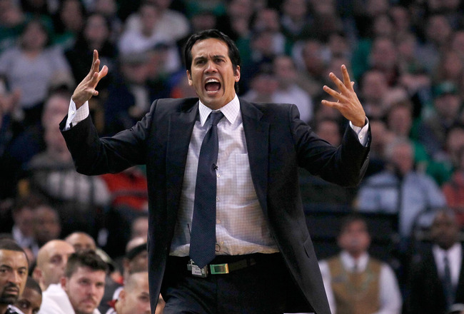 BOSTON - FEBRUARY 13:  Coach Erik Spoelstra of the Miami Heat reacts when an official failed to call a foul against the Boston Celtics at TD Garden on February 13, 2011 in Boston, Massachusetts. The Celtics won 85-82. NOTE TO USER: User expressly acknowle