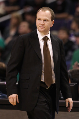 PHOENIX, AZ - JANUARY 28:  Assistant coach Lawrence Frank of the Boston Celtics coaches after Doc Rivers (not pictured) was ejected from the NBA game against the Phoenix Suns at US Airways Center on January 28, 2011 in Phoenix, Arizona. The Suns defeated
