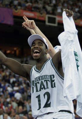 3 Apr 2000: Mateen Cleaves #12 of Michigan State celebrates after defeating Florida 89-76 to win the final round of the NCAA Men''s Final Four at the RCA Dome in Indianapolis, Indiana. DIGITAL IMAGE