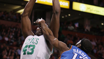 BOSTON - MARCH 31:  James Harden #13 of the Oklahoma City Thunder fouls Kendrick Perkins #43 of the Boston Celtics as he heads for the basket on March 31, 2010 at the TD Garden in Boston, Massachusetts.  NOTE TO USER: User expressly acknowledges and agree