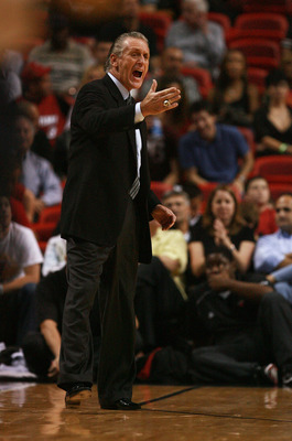 MIAMI - MARCH 05:  Head coach Pat Riley of the Miami Heat yells out to his team while taking on the Toronto Raptors at American Airlines Arena on March 5,  2008 in Miami, Florida.  NOTE TO USER: User expressly acknowledges and agrees that, by downloading