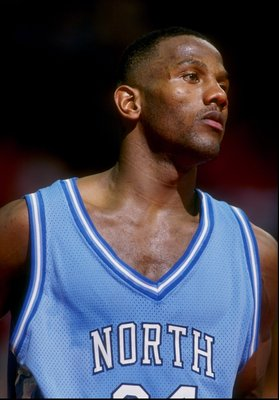 9 Feb 1993:  George Lynch of the North Carolina Tar Heels stands on the court during a game against the Maryland Terrapins at the Cole Field House in College Park, Maryland. Mandatory Credit: Doug Pensinger  /Allsport