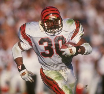 13 Jan 1991: Running back Ickey Woods of the Cincinnati Bengals runs with the ball during a playoff game against the Los Angeles Raiders at the Coliseum in Los Angeles, California. The Raiders won the game, 20-10.