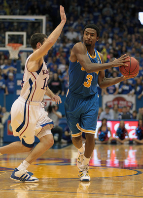 LAWRENCE, KS - DECEMBER 02:  Malcolm Lee #3 of the UCLA Bruins in action during the game against the Kansas Jayhawks on December 2, 2010 at Allen Fieldhouse in Lawrence, Kansas.  (Photo by Jamie Squire/Getty Images)