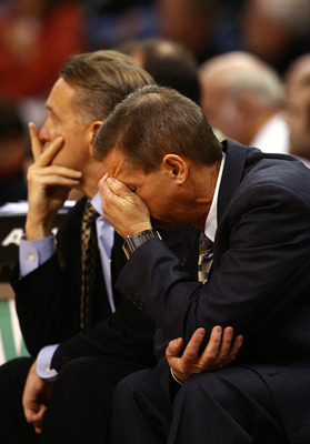 OKLAHOMA CITY - MARCH 11:  Head coach Jeff Bzdelik of the Colorado Buffaloes reacts during a loss against the Texas Longhorns during the Phillips 66 Big 12 Men's Basketball Championship at the Ford Center March 11, 2009 in Oklahoma City, Oklahoma.  (Photo