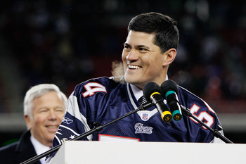 FOXBORO, MA - DECEMBER 06:  Former New England Patriots Tedy Bruschi reacts during a halftime ceremony honoring his playing career as the Patriots host the New York Jets at Gillette Stadium on December 6, 2010 in Foxboro, Massachusetts.  (Photo by Jim Rog