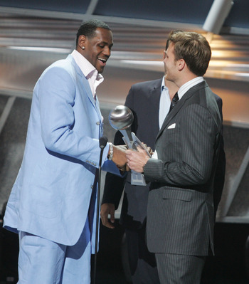HOLLYWOOD - JULY 14:  Winner for Best Breakthrough athlete, basketball player LeBron James is greeted on stage by quarterback Tom Brady at the 12th Annual ESPY Awards held at the Kodak Theatre on July 14, 2004 in Hollywood, California.  This year's ESPY's