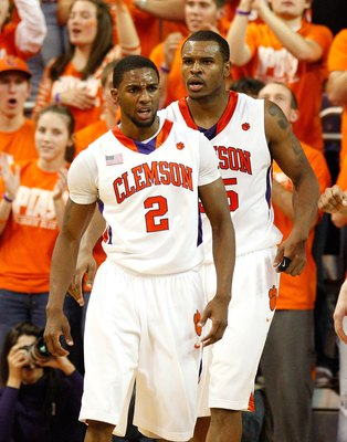 CLEMSON, SC - JANUARY 13:  Demontez Stitt #2 and Trevor Booker #35 of the Clemson Tigers against the North Carolina Tar Heels at Littlejohn Coliseum on January 13, 2010 in Clemson, South Carolina.  (Photo by Kevin C. Cox/Getty Images)