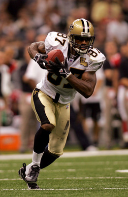 NEW ORLEANS - SEPTEMBER 25:  Wide Receiver Joe Horn #87 of the New Orleans Saints runs with the ball during the Monday Night Football game against the Atlanta Falcons on September 25, 2006 at the Superdome in New Orleans, Louisiana.  Tonight's game marks