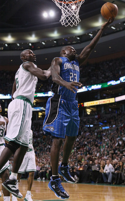 BOSTON, MA - FEBRUARY 06:  Jason Richardson #23 of the Orlando Magic takes a shot as Kevin Garnett #5 of the Boston Celtics defends on February 6, 2011 at the TD Garden in Boston, Massachusetts. The Celtics defeated the Magic 91-80. NOTE TO USER: User exp