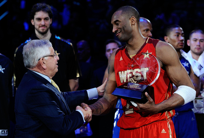 LOS ANGELES, CA - FEBRUARY 20:  Kobe Bryant #24 of the Los Angeles Lakers and the Western Conference shakes hands with NBA Commissioner David Stern after Bryant was named MVP for the fourth time in the 2011 NBA All-Star Game at Staples Center on February