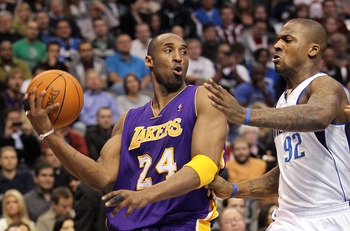 DALLAS, TX - JANUARY 19:  Kobe Bryant #24 of the Los Angeles Lakers at American Airlines Center on January 19, 2011 in Dallas, Texas.  NOTE TO USER: User expressly acknowledges and agrees that, by downloading and or using this photograph, User is consenti