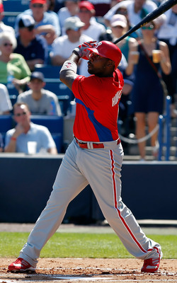TAMPA, FL - FEBRUARY 26:  Infielder Ryan Howard #6 of the Philadelphia Phillies fouls off a pitch against the New York Yankees during a Grapefruit League Spring Training Game at George M. Steinbrenner Field on February 26, 2011 in Tampa, Florida.  (Photo