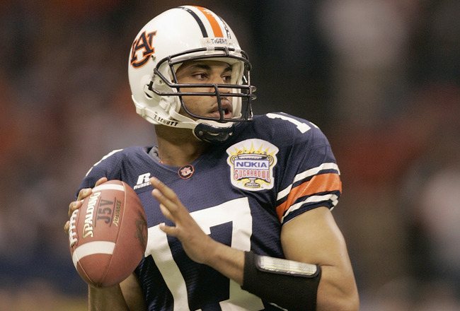 NEW ORLEANS - JANUARY 3:  Quarterback Jason Campbell #17 of the Auburn Tigers looks to pass against the Virginia Tech Hokies during the Nokia Sugar Bowl on January 3, 2005 at the Superdome in New Orleans, Louisiana.  Auburn defeated Virginia Tech 16-13.
