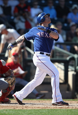 SURPRISE, AZ - MARCH 02:  Josh Hamilton #32 of the Texas Rangers bats during the spring training game against the Los Angeles Angels of Anaheim at Surprise Stadium on March 2, 2011 in Surprise, Arizona.  (Photo by Christian Petersen/Getty Images)
