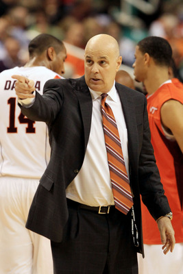 GREENSBORO, NC - MARCH 10:  Head coach Seth Greenberg of the Virginia Tech Hokies communicates with his team during the first half of the game against the Georgia Tech Yellow Jackets in the first round of the 2011 ACC men's basketball tournament at the Gr