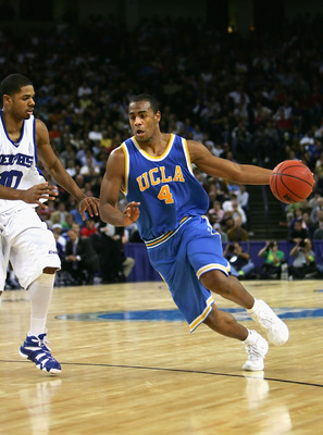 OAKLAND, CA - MARCH 25:  Arron Afflalo #4 of the UCLA Bruins handles the ball against the Memphis Tigers during the third round game of the NCAA Division I Men's Basketball Tournament at the Arena in Oakland on March 25, 2006 in Oakland, California.  (Pho