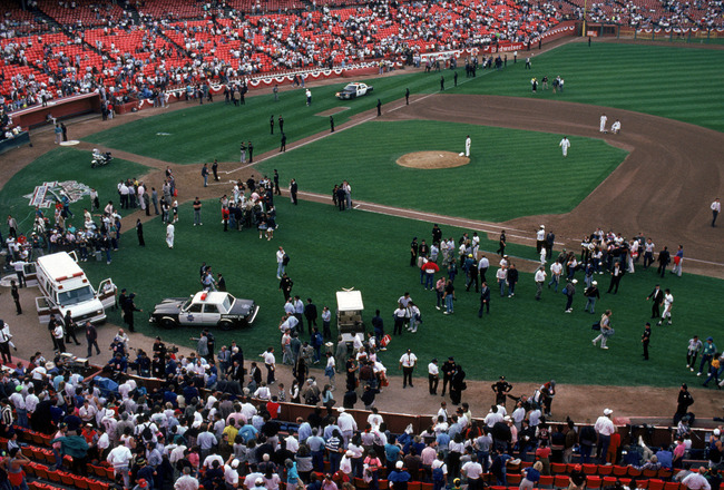 SAN FRANCISCO - OCTOBER 17:  General view of the crowds in Candlestick Park after an earthquake, measuring 7.1 on the richter scale, rocks game three of the World Series between the Oakland A's and San Francisco Giants at Candlestick Park on October 17, 1