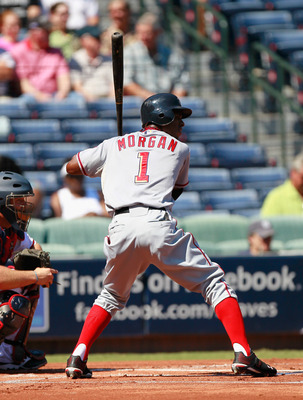 ATLANTA - SEPTEMBER 15:  Nyjer Morgan #1 of the Washington Nationals against the Atlanta Braves at Turner Field on September 15, 2010 in Atlanta, Georgia.  (Photo by Kevin C. Cox/Getty Images)
