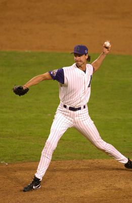 4 Nov 2001: Randy Johnson #51 of the Arizona Diamondbacks delivers during game seven of the Major League Baseball World Series against the New York Yankees at Bank One Ballpark in Phoenix, Arizona. The Diamondbacks won 3-2 to capture the World Series titl