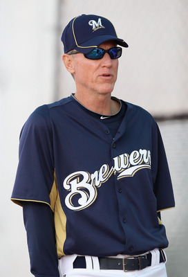 PHOENIX, AZ - FEBRUARY 18:  Manager Ron Roenicke #10 of the Milwaukee Brewers speaks with teammates during a MLB spring training practice at Maryvale Baseball Park on February 18, 2011 in Phoenix, Arizona.  (Photo by Christian Petersen/Getty Images)