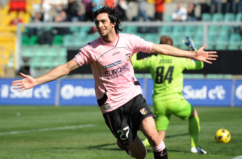PALERMO, ITALY - FEBRUARY 13:  Javier Pastore of Palermo celebrates after scoring the opening goal during the Serie A match between US Citta di Palermo and ACF Fiorentina at Stadio Renzo Barbera on February 13, 2011 in Palermo, Italy.  (Photo by Tullio M.