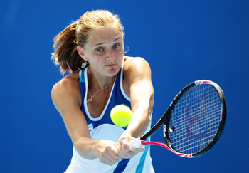 HOBART, AUSTRALIA - JANUARY 09:  Anna Chakvetadze of Russia plays a backhand during her 1st round match against Sara Errani of Italy during day one of the Moorilla Hobart International at Domain Tennis Centre on January 9, 2011 in Hobart, Australia.  (Pho