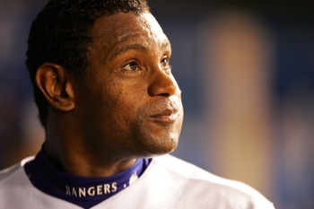 ARLINGTON, TX - JUNE 20:  Sammy Sosa #21 of the Texas Rangers reacts after hitting his 600th career home run against the Chicago Cubs during their inter-league game on June 20, 2007 at Rangers Ballpark in Arlington, Texas.  (Photo by Ronald Martinez/Getty